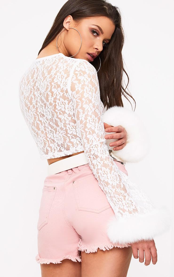 Bibiana White Lace Flare Sleeve Fur Trim Crop Top 2