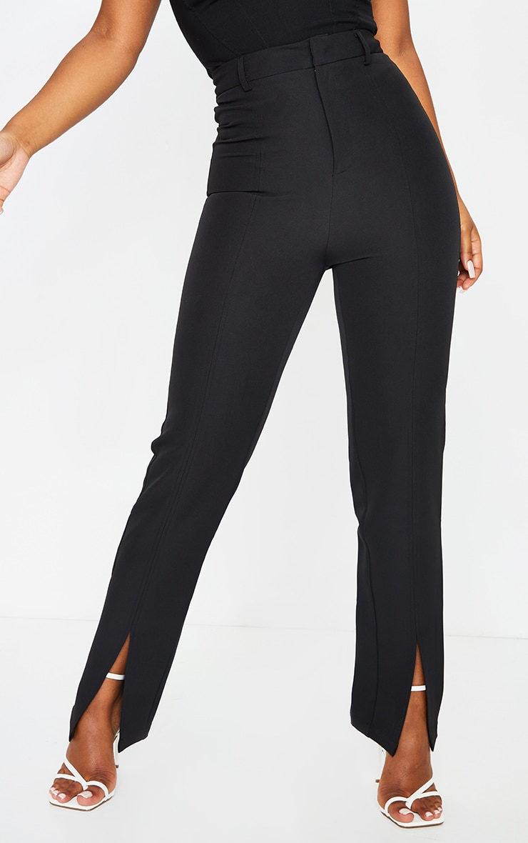 Black Woven Straight Leg Split Hem Trousers 2