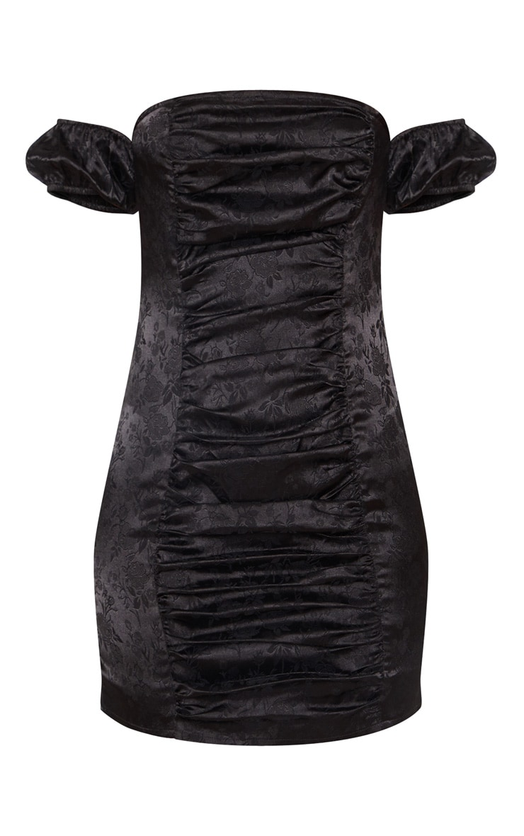 Black Jacquard Floral Short Sleeve Ruched Front Bodycon Dress 3