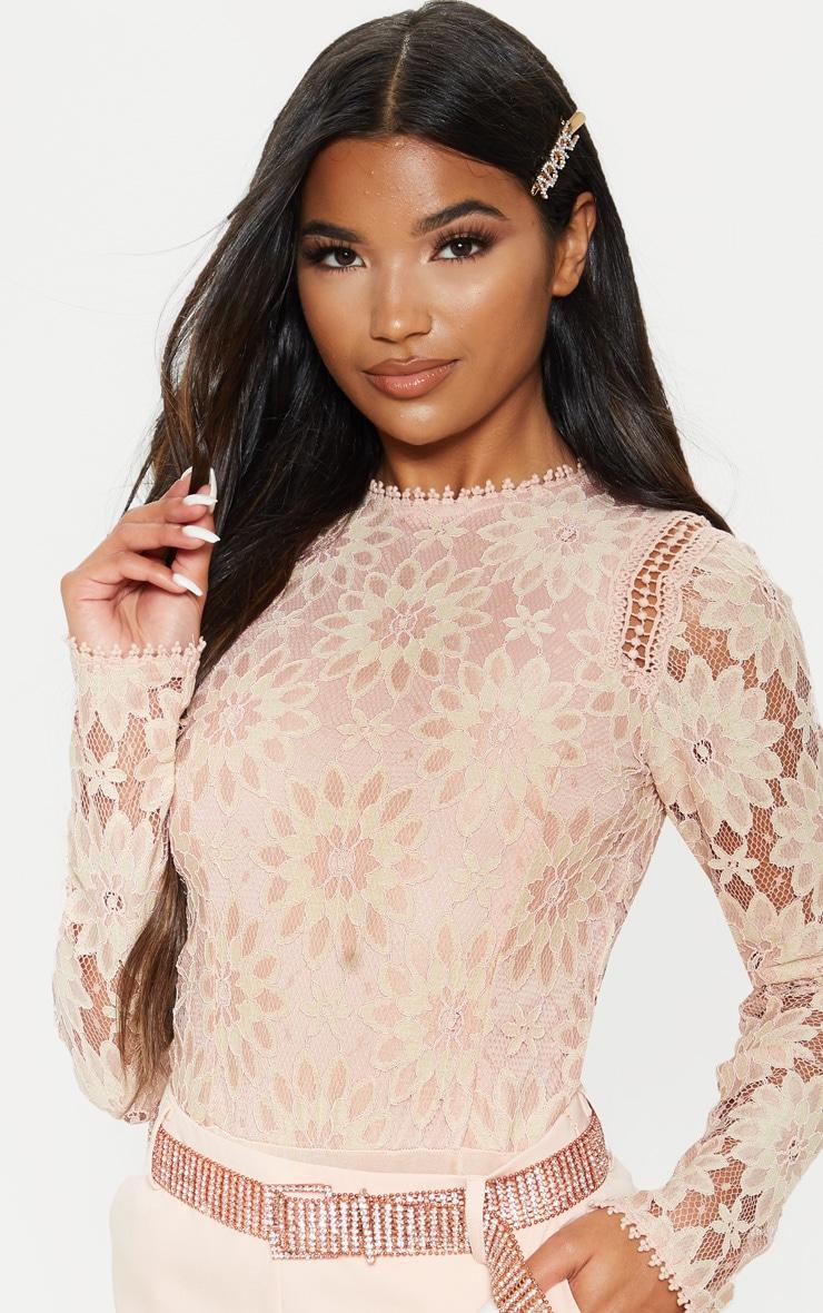 Dusty Pink Lace Long Sleeve Bodysuit 6