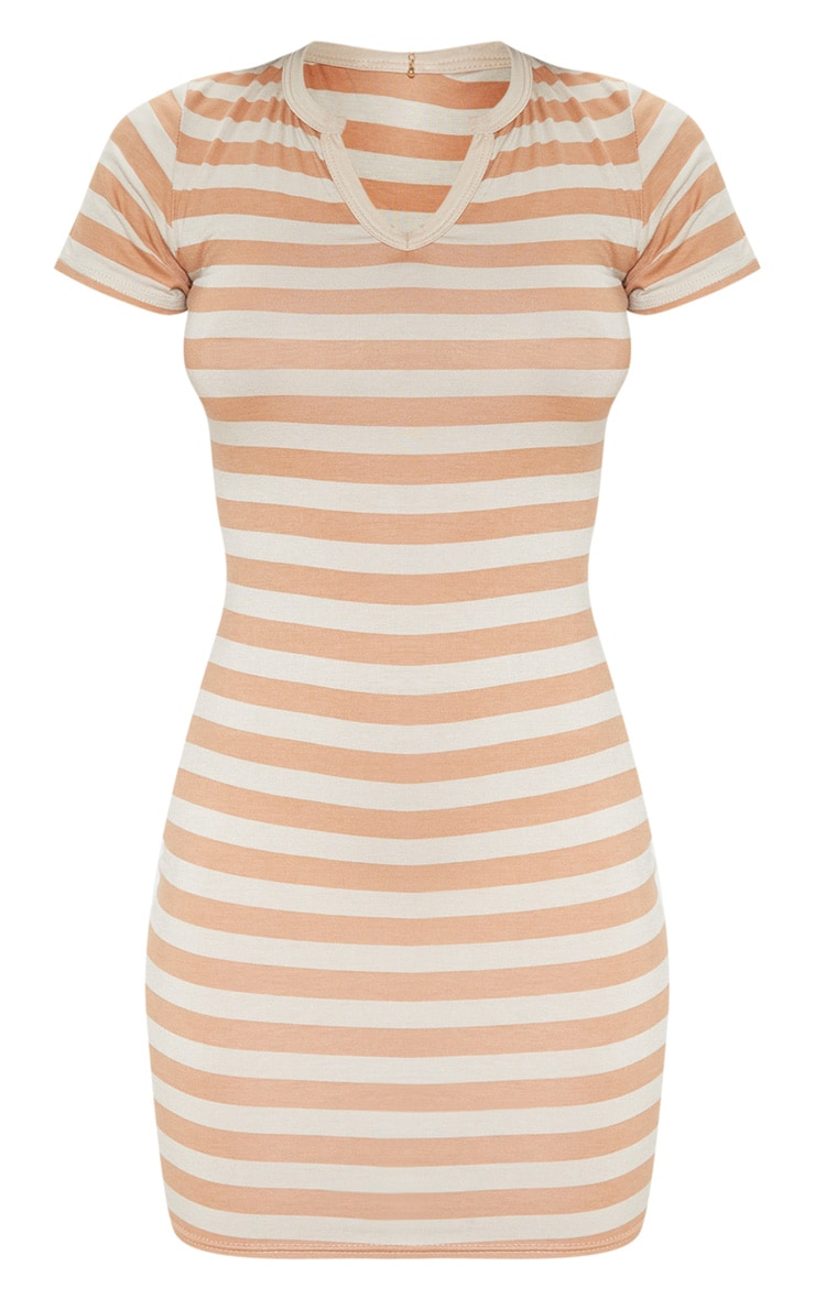 Nude Stripe Cut Neck Bodycon Dress 3
