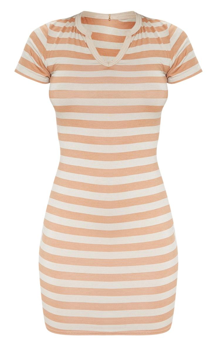 Nude Stripe Cut Neck Bodycon Dress  3