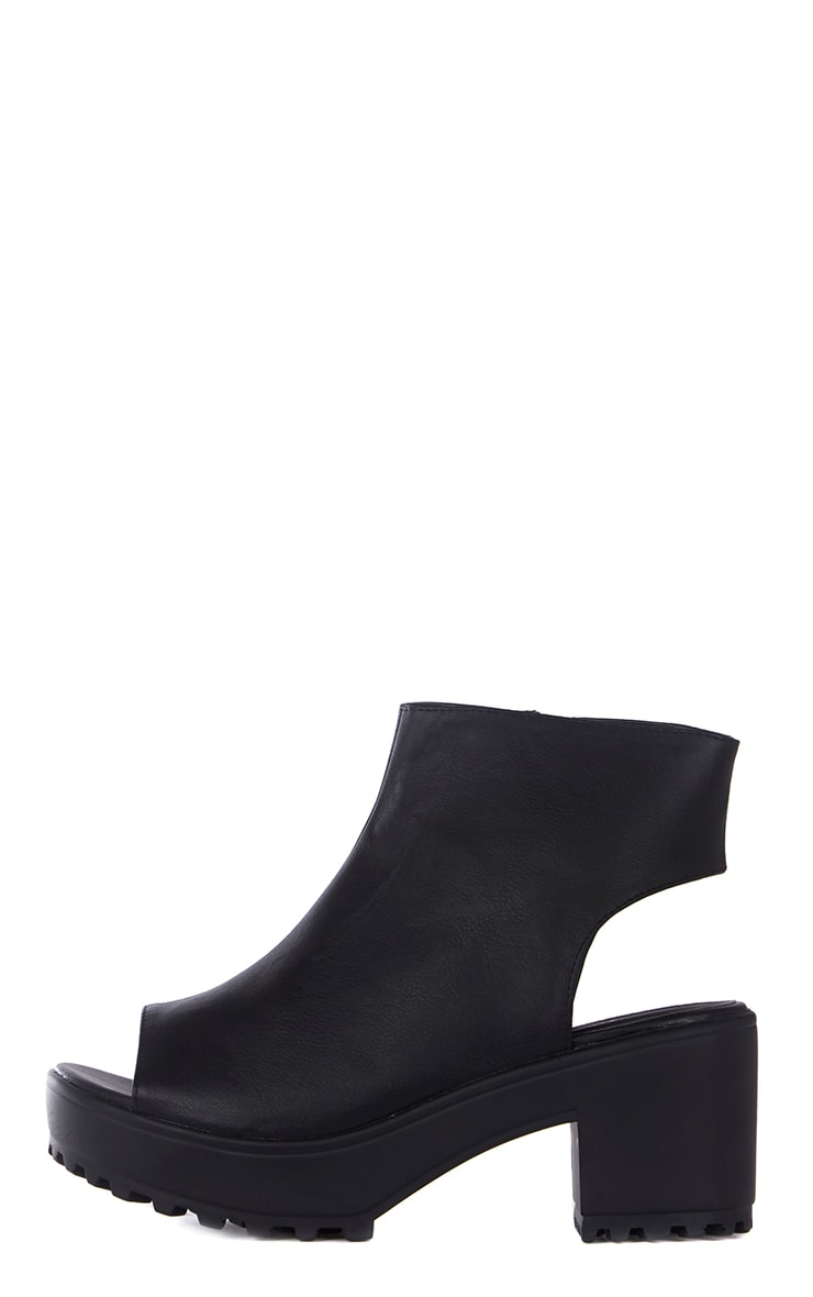 Amity Black Faux Leather Peep Toe Ankle Boots 1