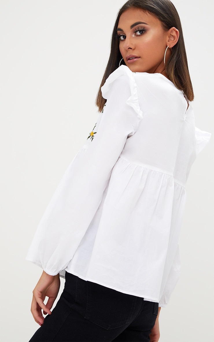White Embroidered Frill Long Sleeve Shirt  2