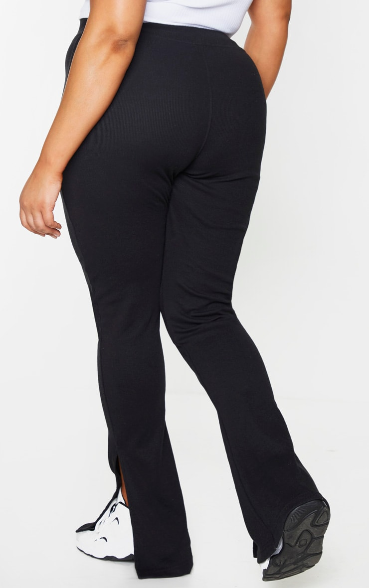 Plus Black High Waisted Textured Rib Split Hem Trousers 3