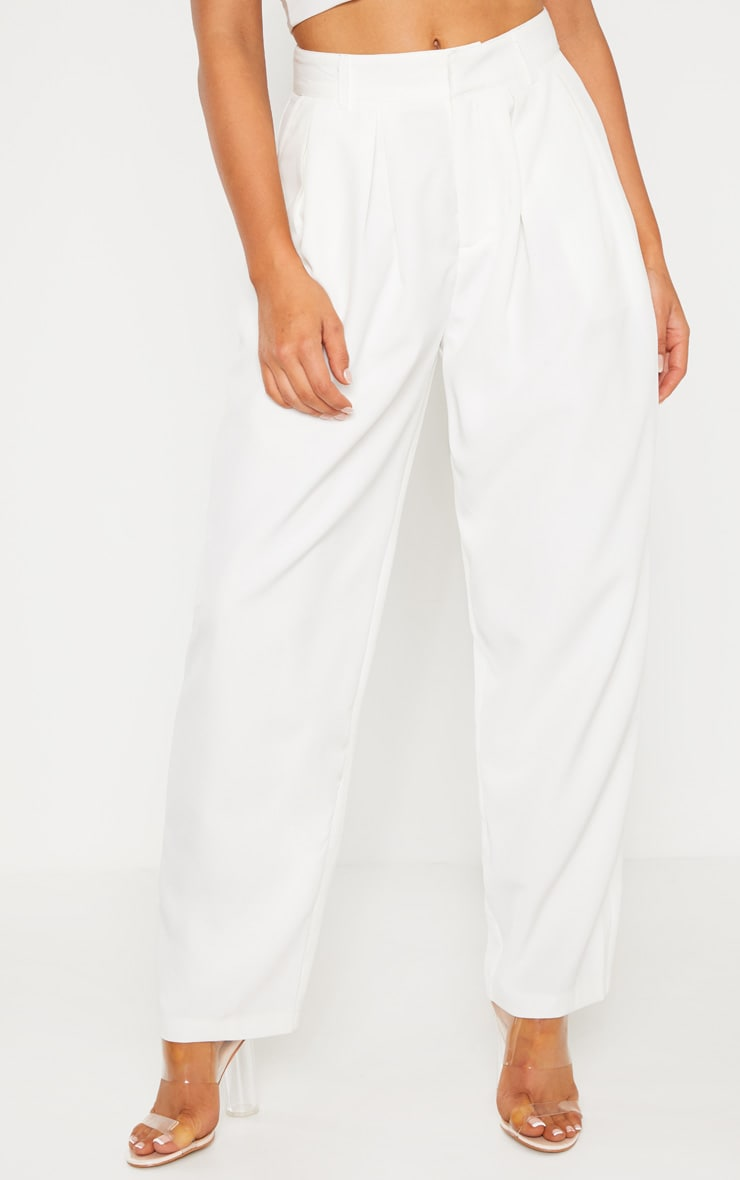 White Woven High Waisted Balloon Leg Pants 2