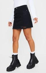 Black Ripped Rip Denim Mini Skirt 2