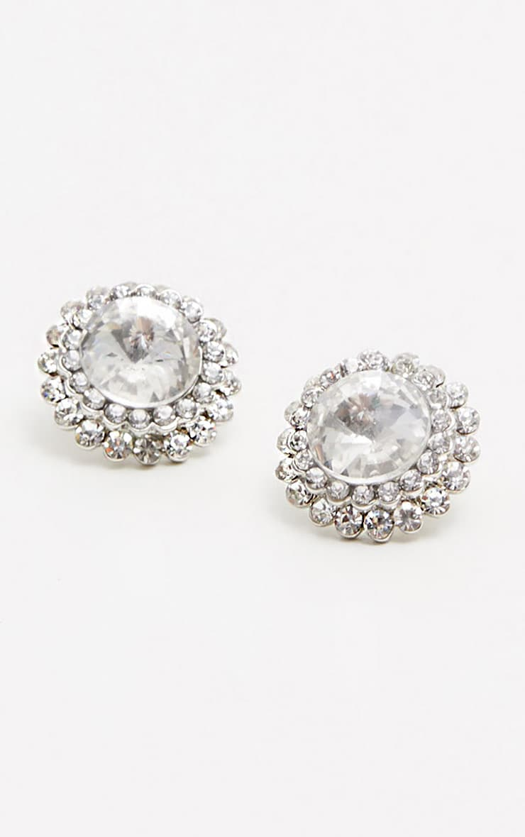 Silver Diamante Stud Earrings 2