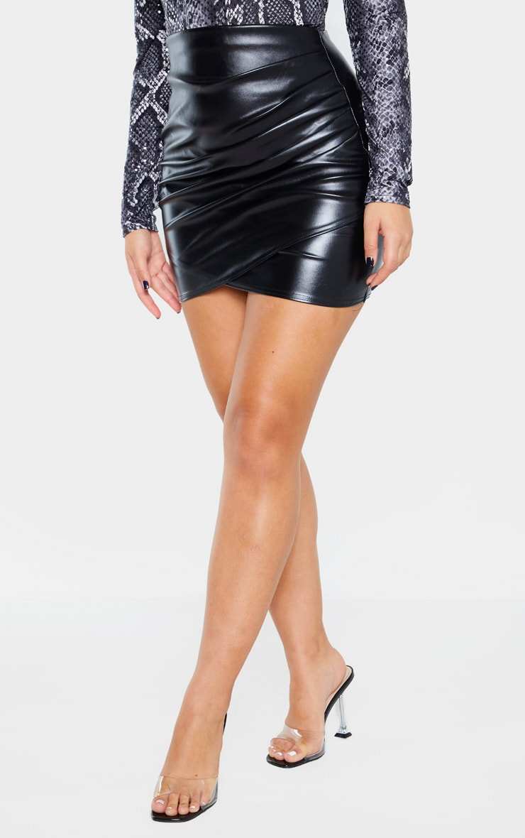 Black Faux Leather Ruched Wrap Skirt  2