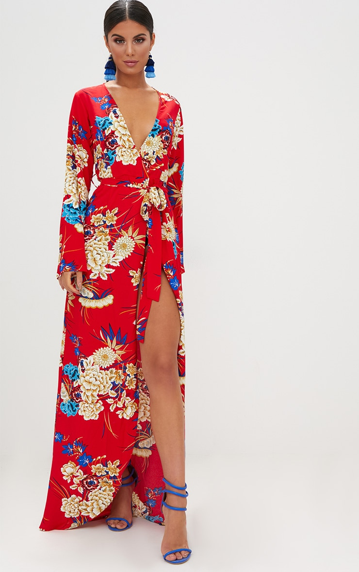 Red Floral Print Kimono Maxi Dress image 1