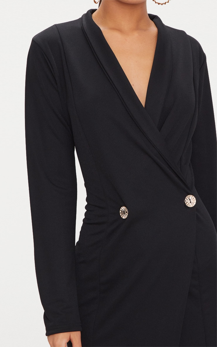 Black Button Detail Blazer Midi Dress 5