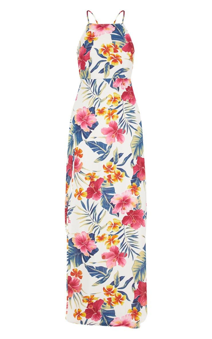 White Floral Strappy Back Chiffon Maxi Dress 3