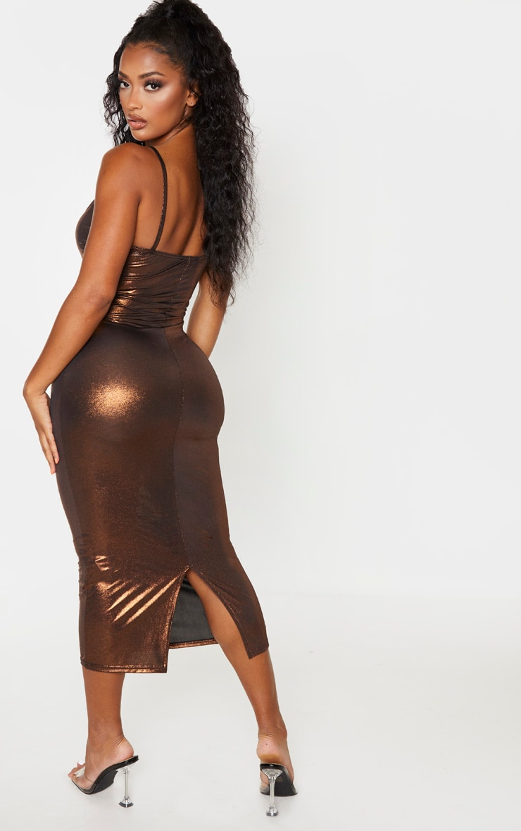 Shape Bronze Metallic Slinky Cup Detail Midi Dress 2