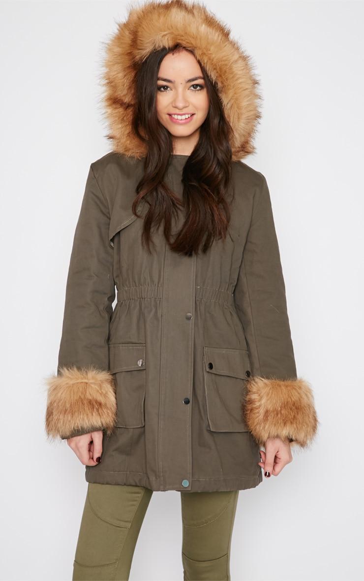 Pamela Khaki Fur Detail Parka Coat 4