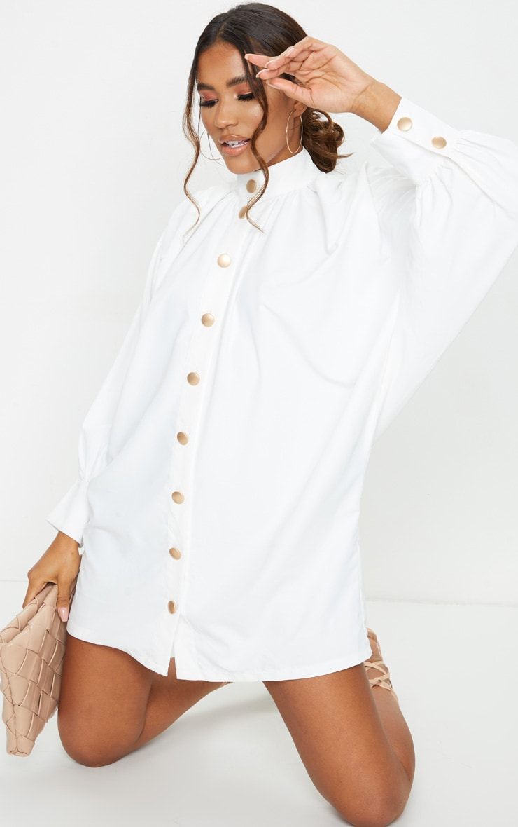 White Gold Button Detail Shirt Dress 1