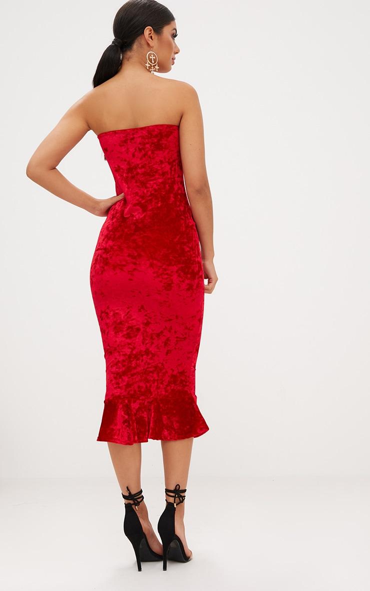 Red Velvet Frill Hem Bandeau Longline Midi Dress 2