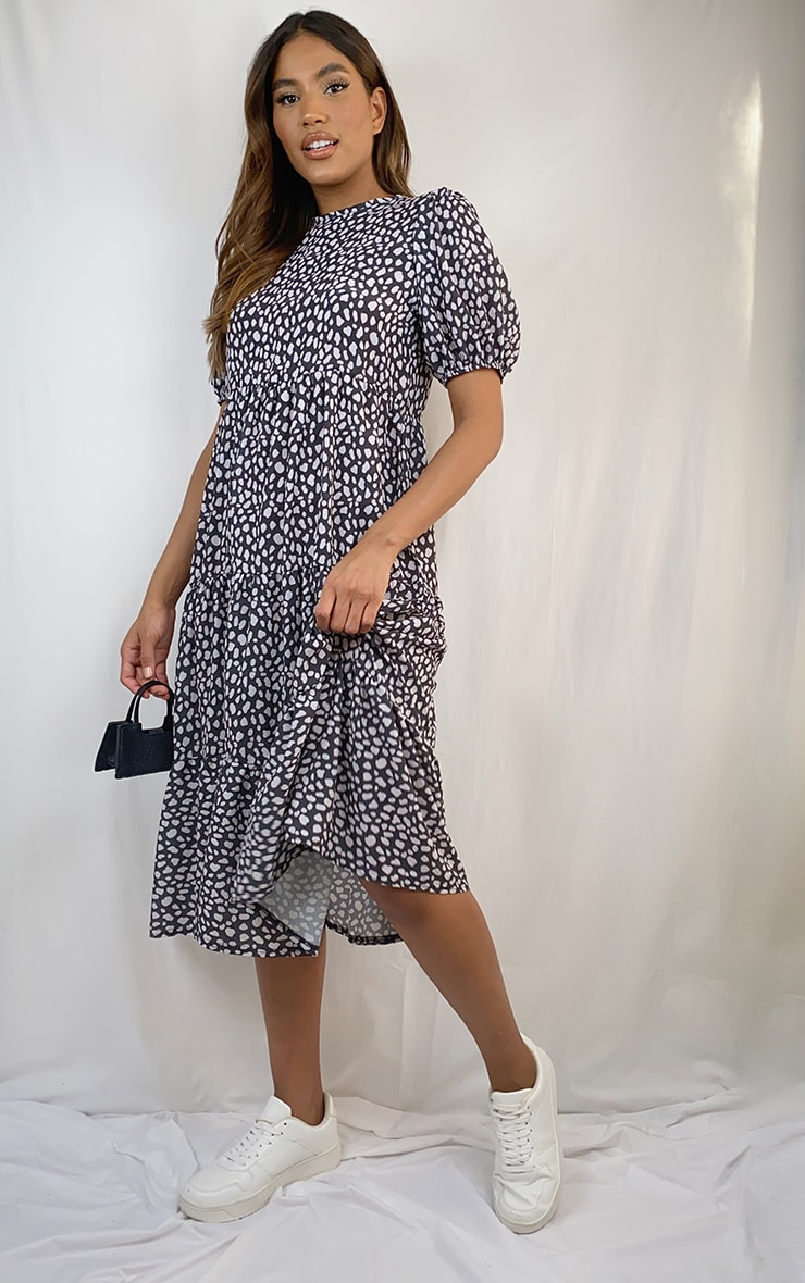 Black Dalmatian Print Puff Sleeve Tiered Hem Midi Smock Dress 1