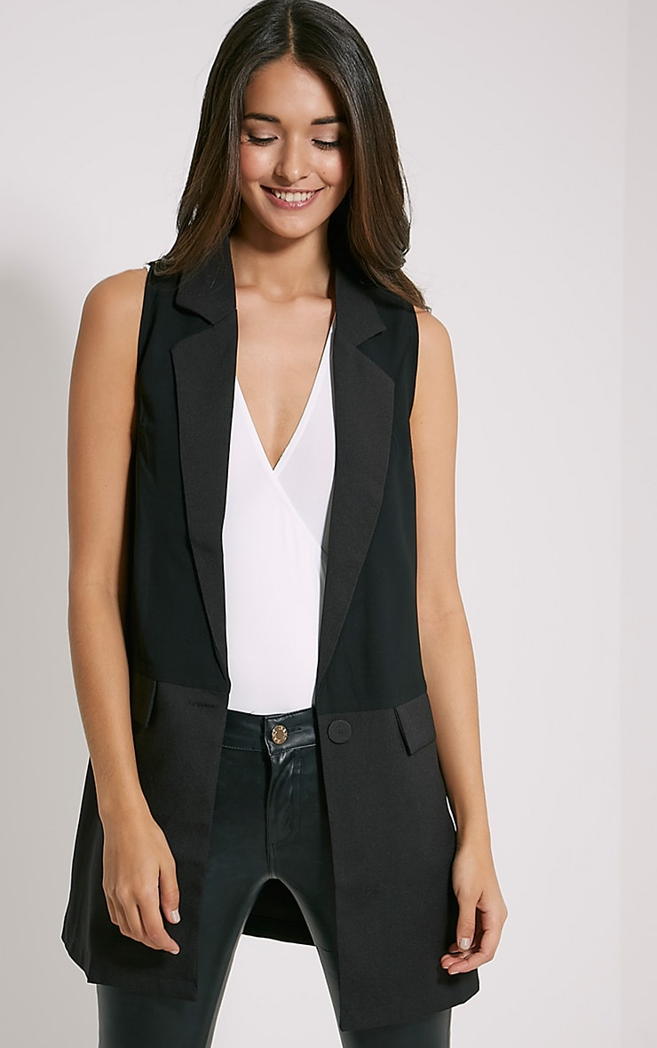 Vienna Black Sleeveless Blazer 1
