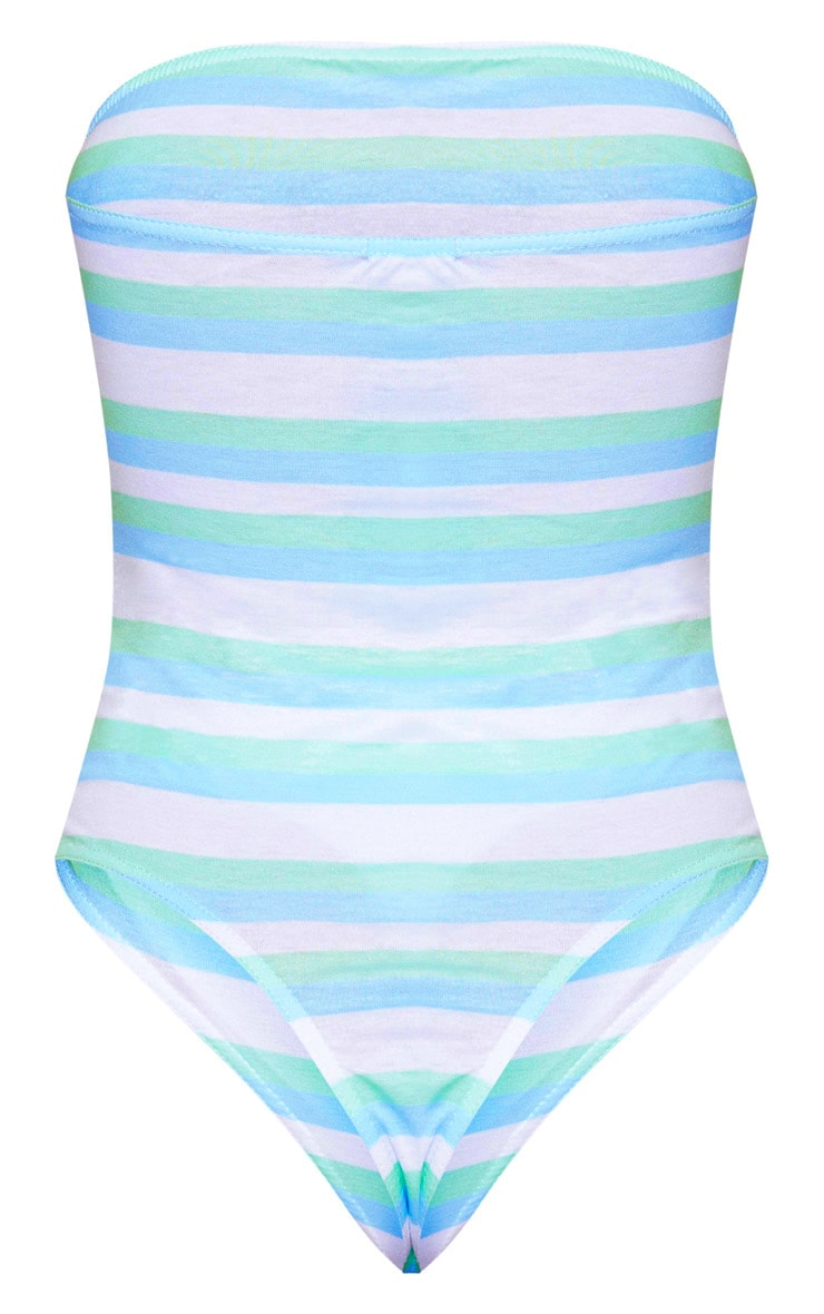 White Stripe Bandeau Thong Bodysuit 4