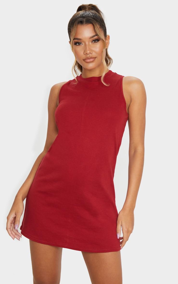 Burgundy Sleeveless Oversized T Shirt Dress 1