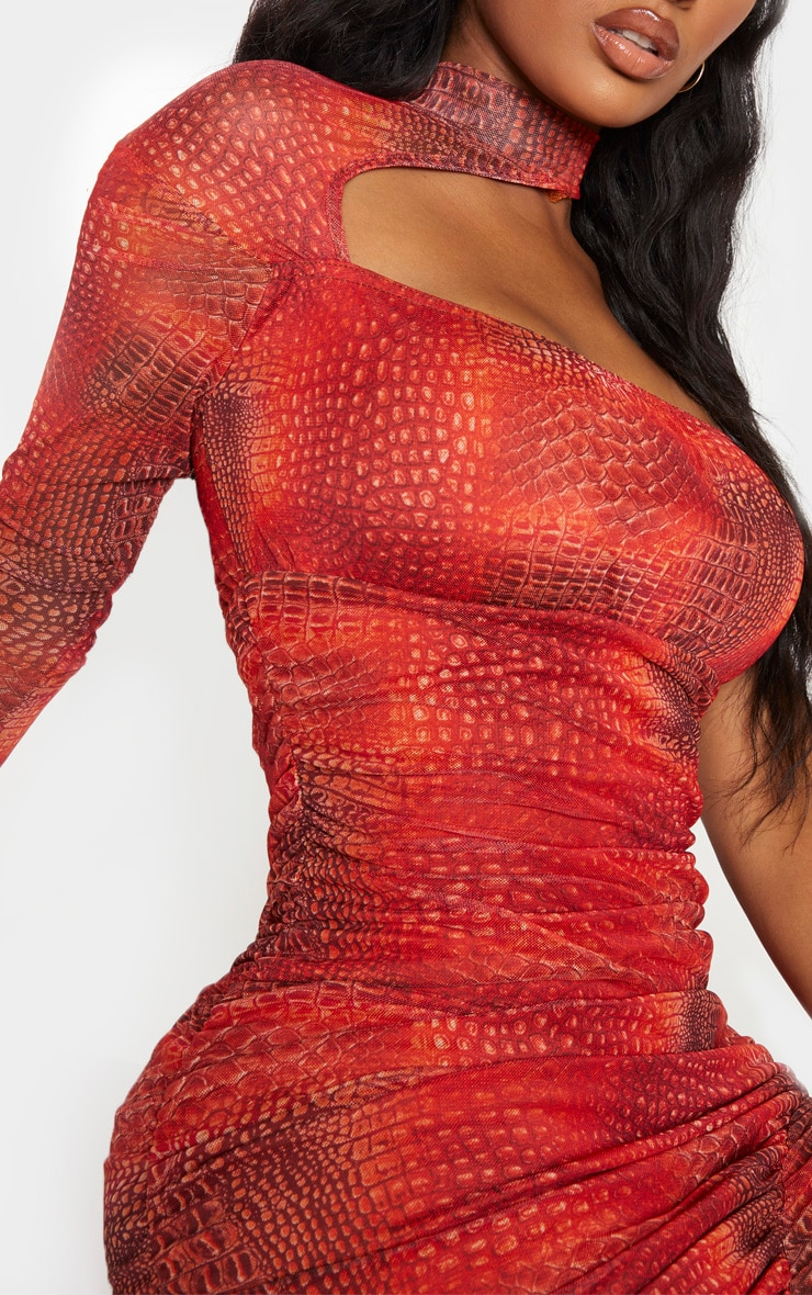 Shape Red Snake Print Mesh High Neck Cut Out Bodycon Dress 5