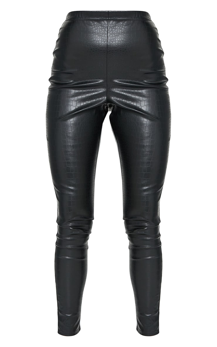 Black Croc Faux Leather Skinny Trousers 5