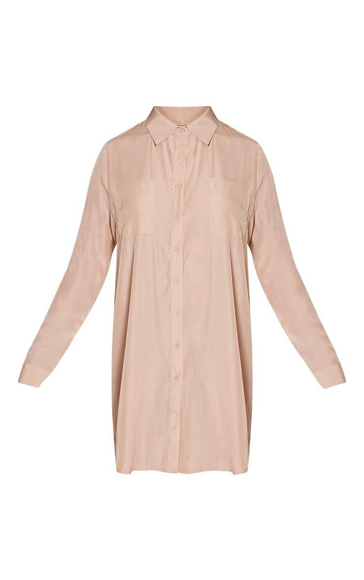 Reeana Champagne Floral Applique Silk Feel Shirt Dress 3