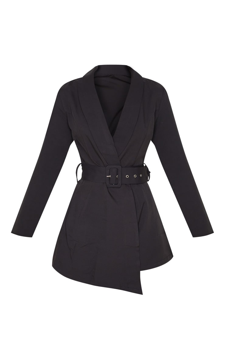 Black Long Sleeve Tailored Belted Playsuit 3