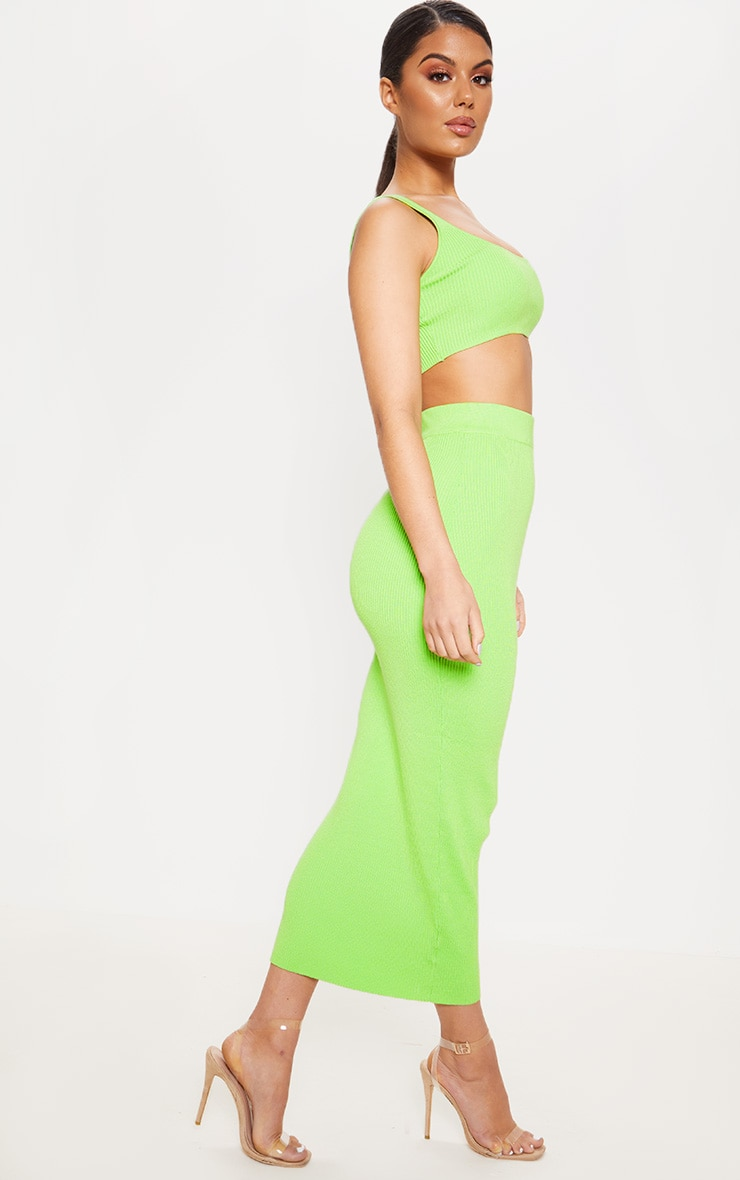 Lime Knitted Ribbed Co Ord 4