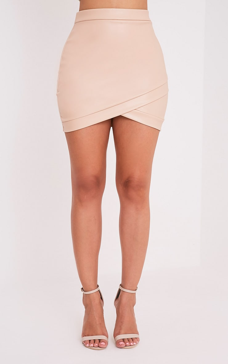 Gabriella Nude Faux Leather Mini Skirt 2