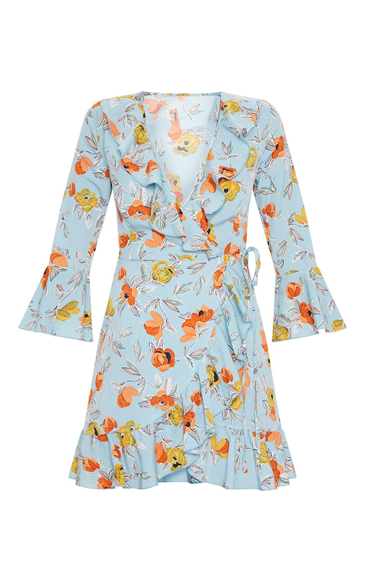 Turquoise Floral Printed Frill Wrap Tea Dress 3