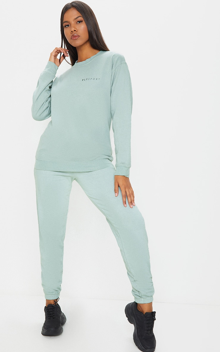 PRETTYLITTLETHING Sage Green Sports Jogger 1