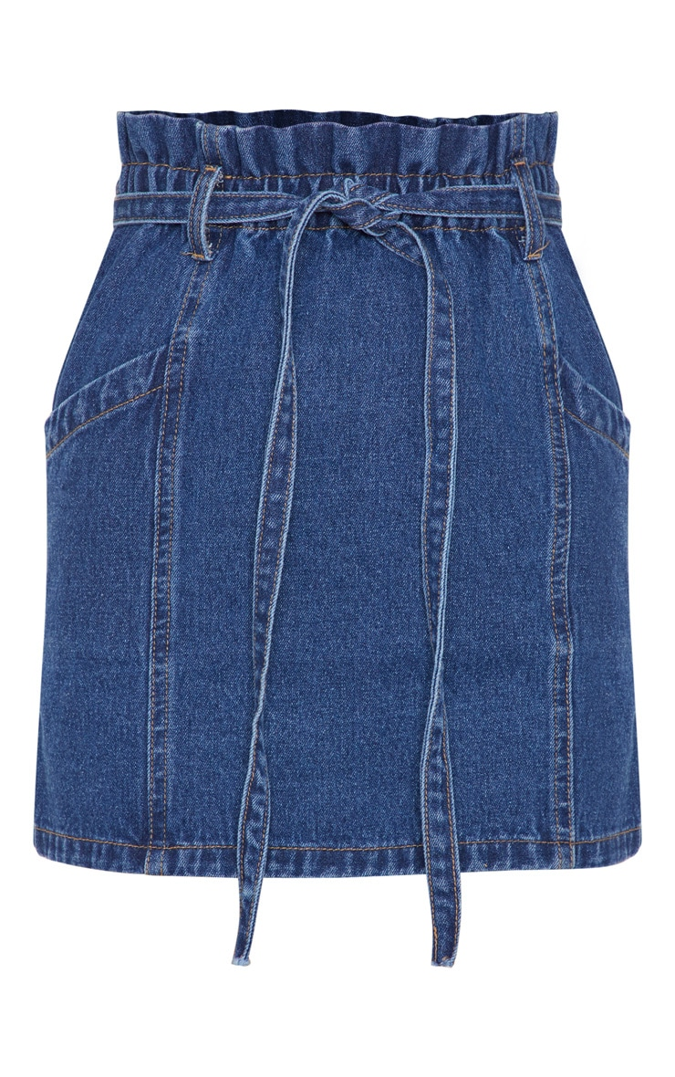 Mid Wash Paperbag Waist Denim Skirt 3