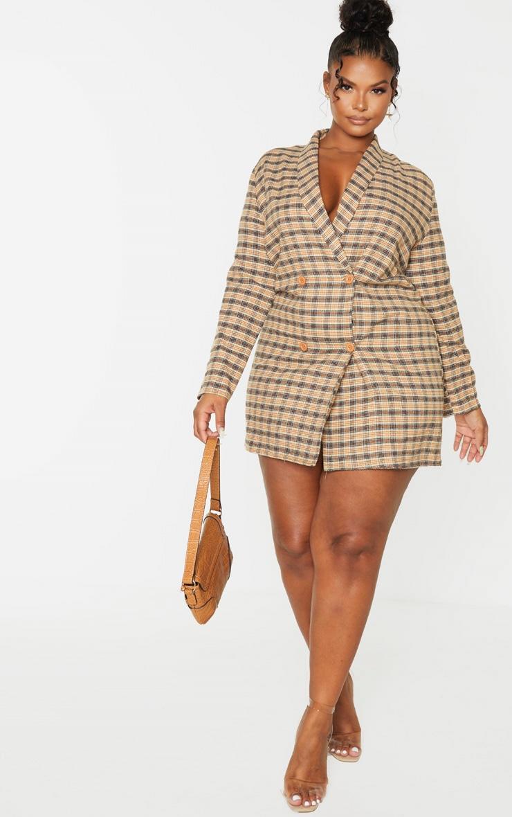 Plus Beige Check Oversized Blazer Dress 4