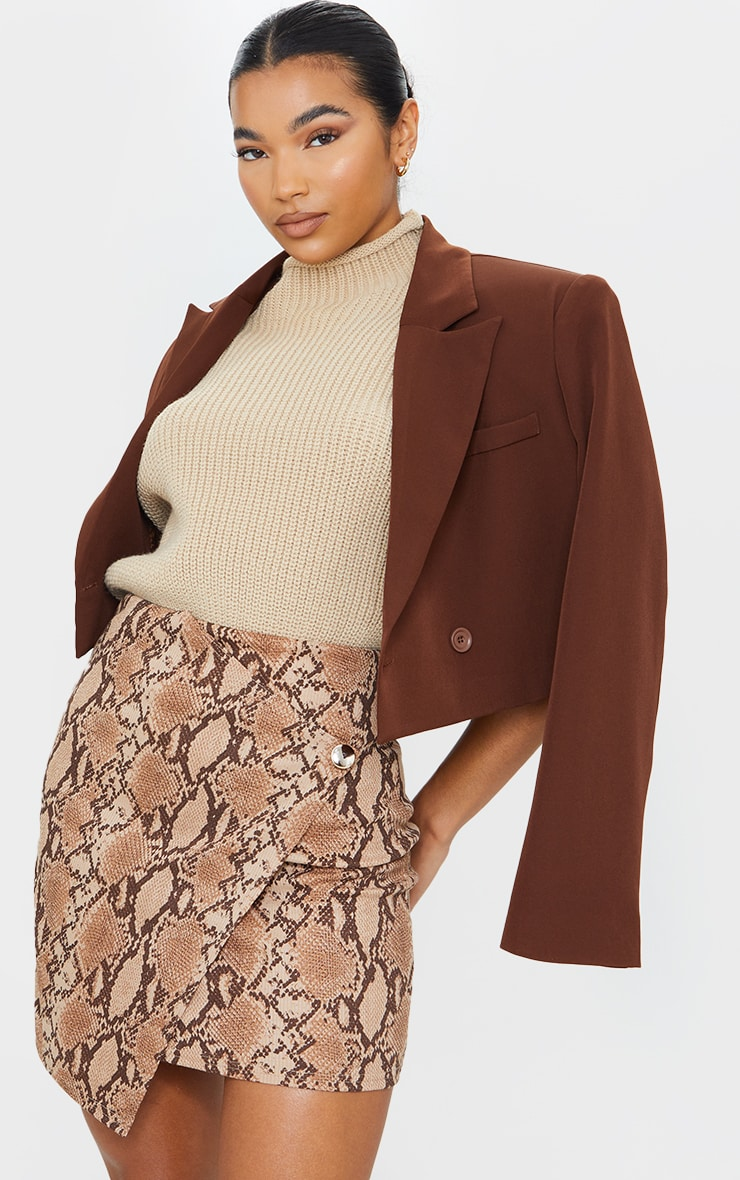 Brown Snake Print Wrap Mini Skirt 4