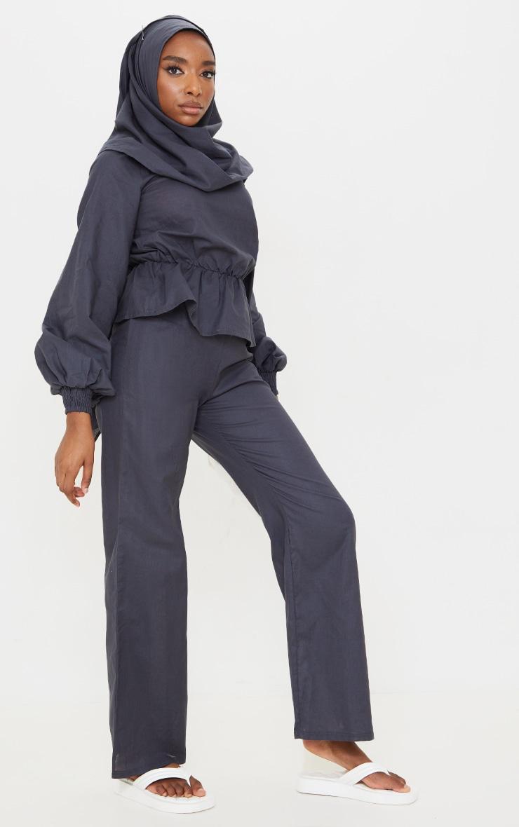 Navy Woven Peplum Wrap Hijab Blouse 3