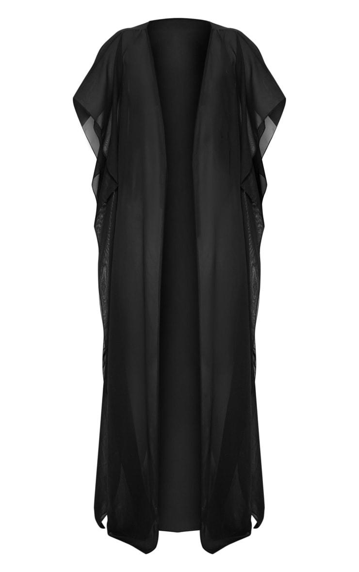 Black Sleeveless Maxi Beach Kimono 3