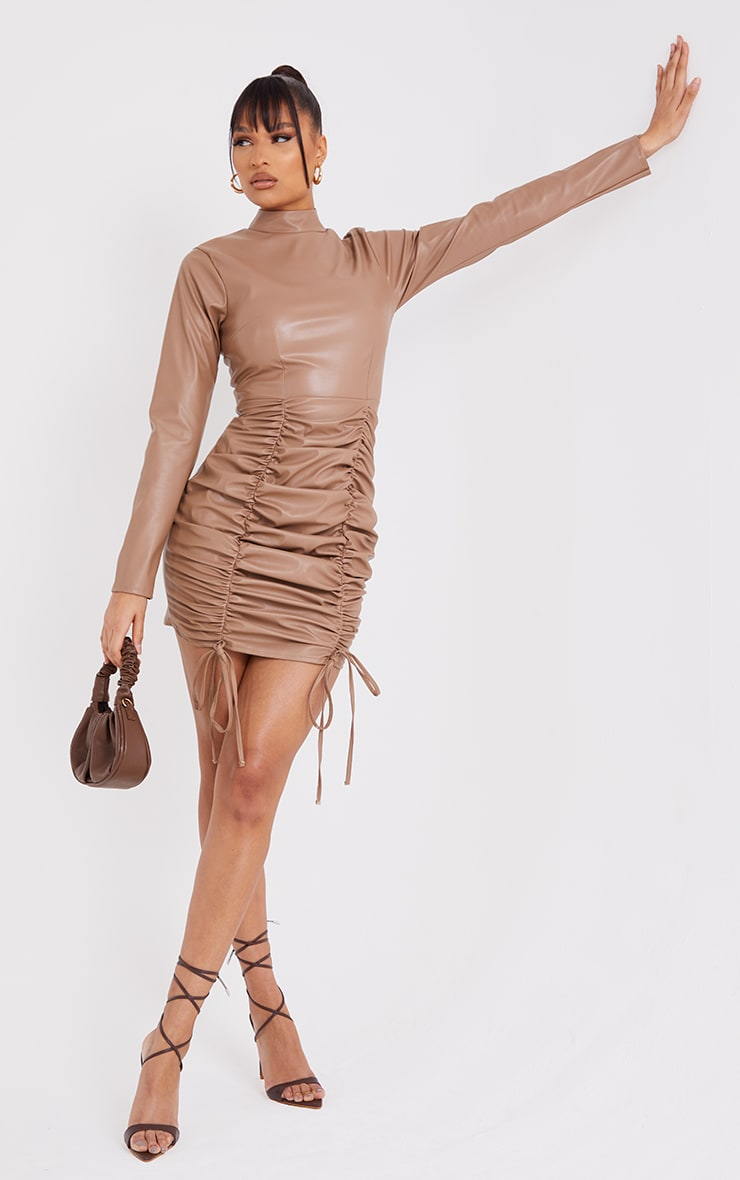 Stone PU High Neck Long Sleeve Ruched Skirt Bodycon Dress 1