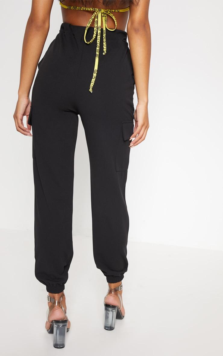 Black Tie Waist Pocket Detail Pants 4