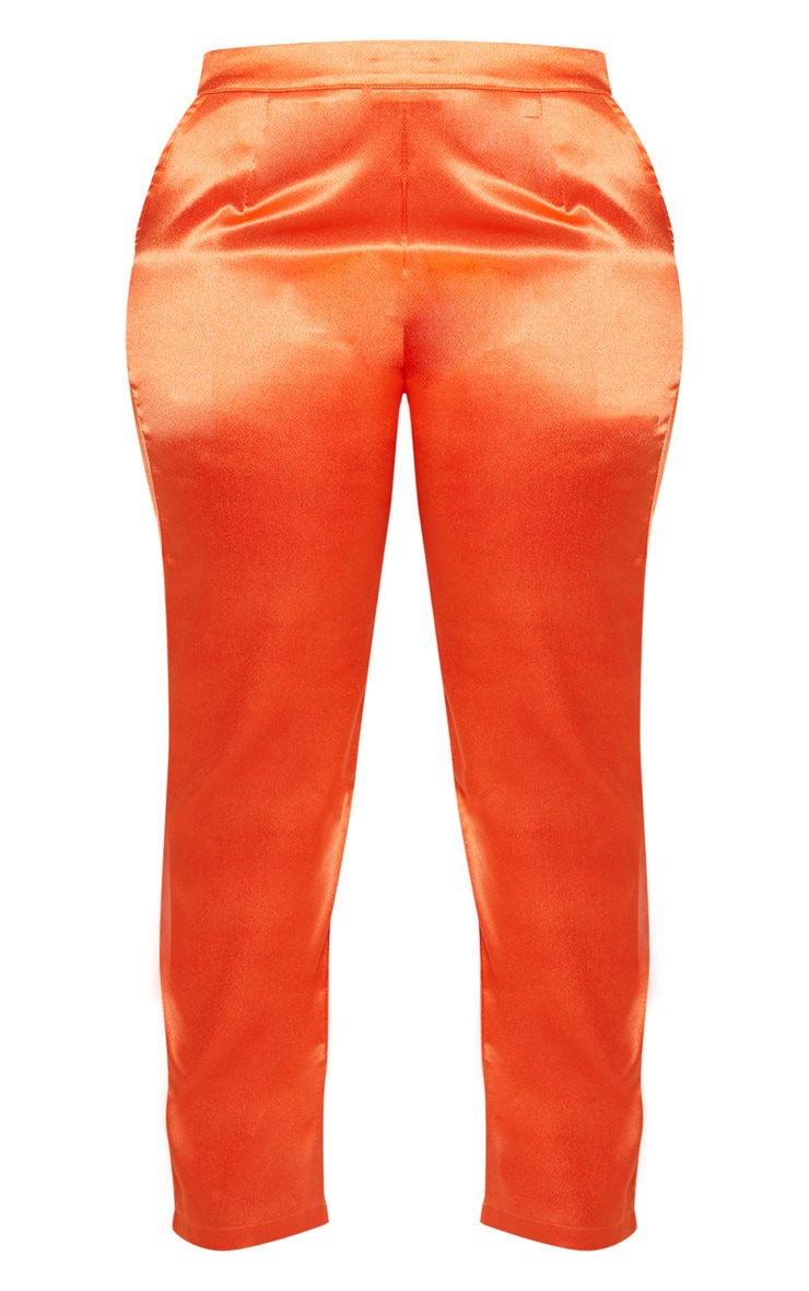 Plus Orange Satin Straight Leg Trouser 3