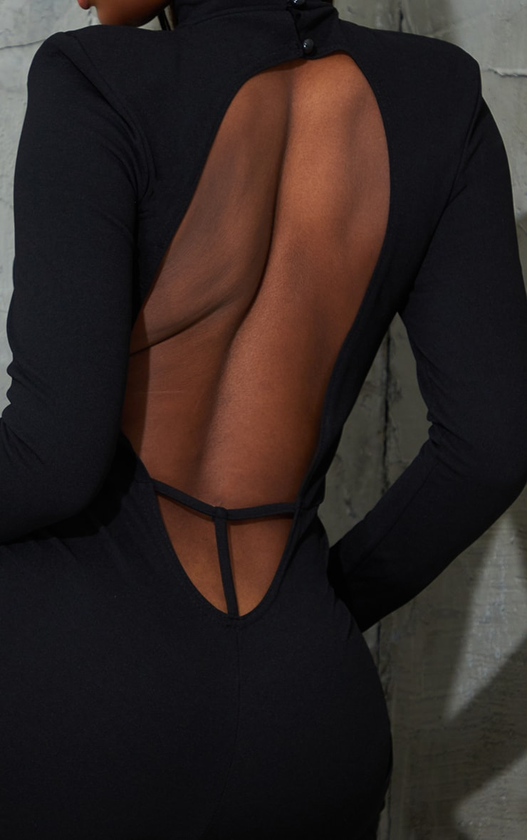 Black Shoulder Pad Thong Back Jumpsuit 4