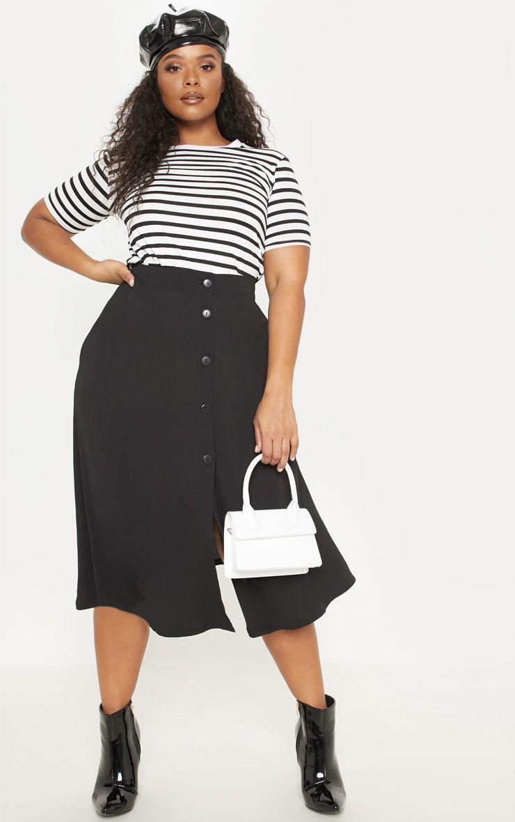 Plus Black Button Up Midi Skirt  1