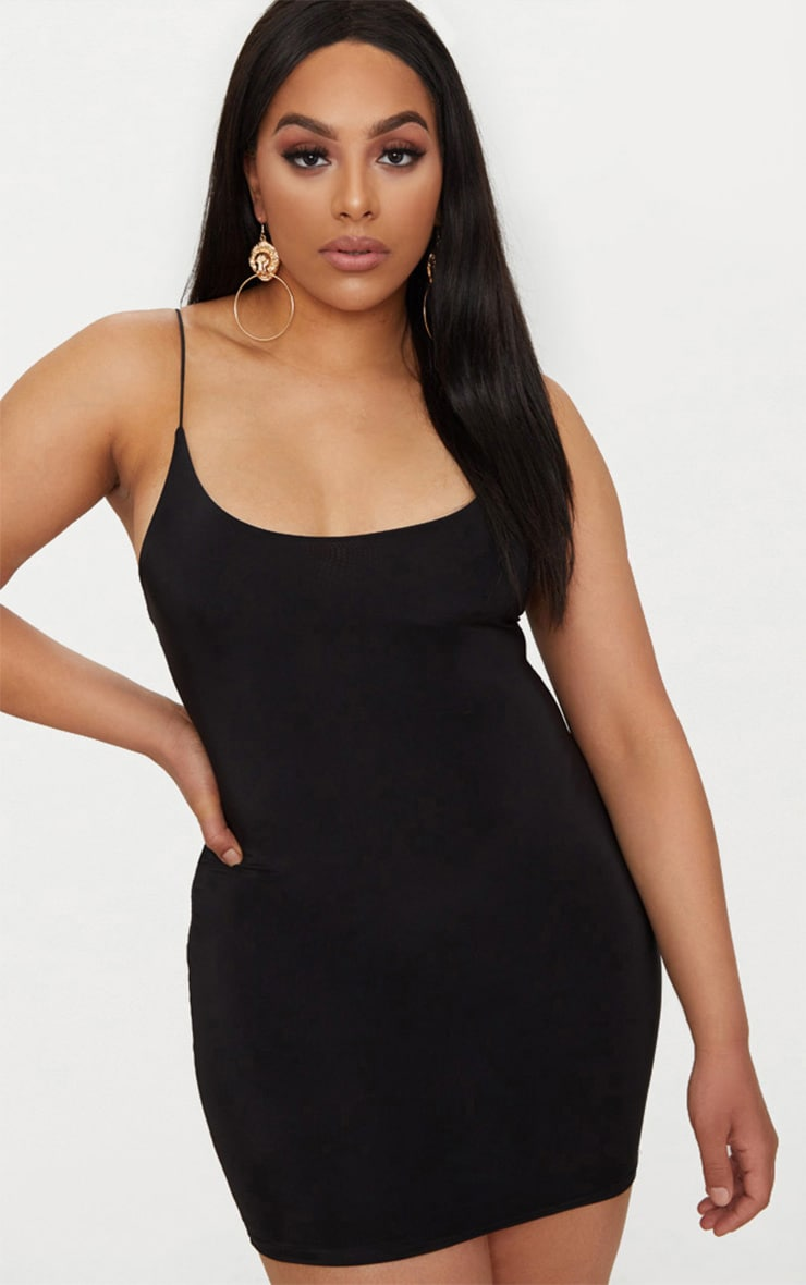 Plus Black Second Skin Slinky Spaghetti Strap Bodycon Dress 1