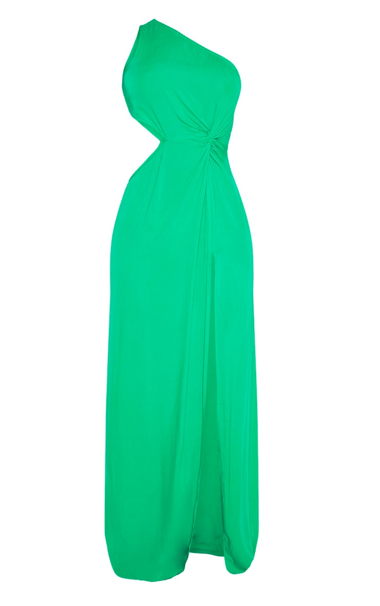 Green One Shoulder Cut Out Knot Detail Split Leg Maxi Dress 3
