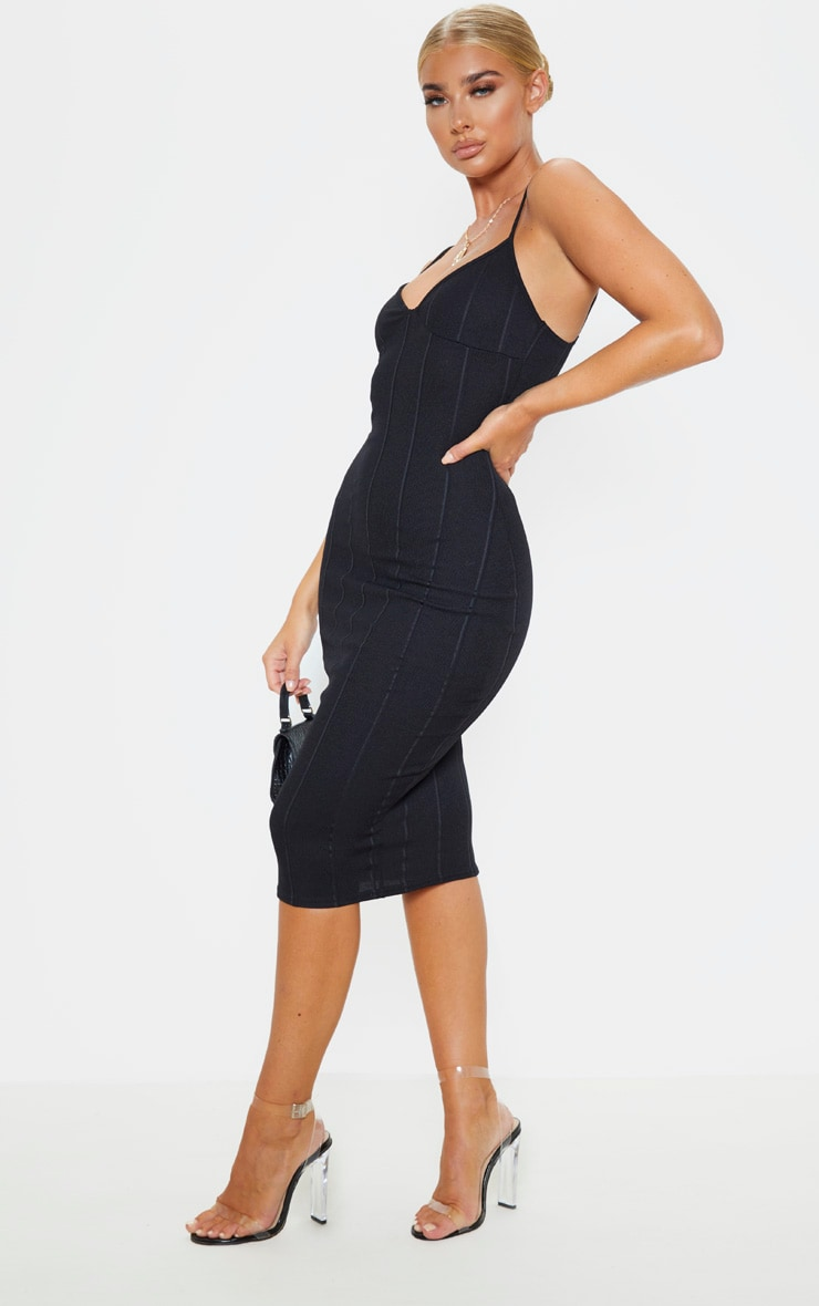 Black Bandage Strappy Cup Detail Midi Dress 4