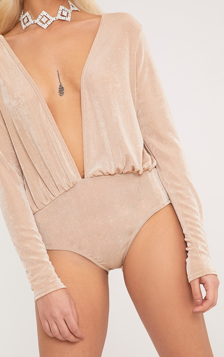 Lori Champagne Slinky Shimmer Plunge Longlseeve Thong Bodysuit 4