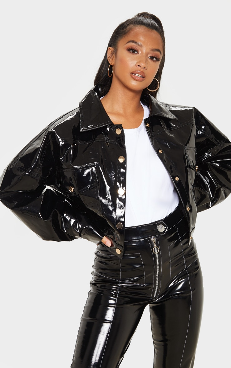 Petite Black Vinyl Cropped Oversized Trucker Jacket 4