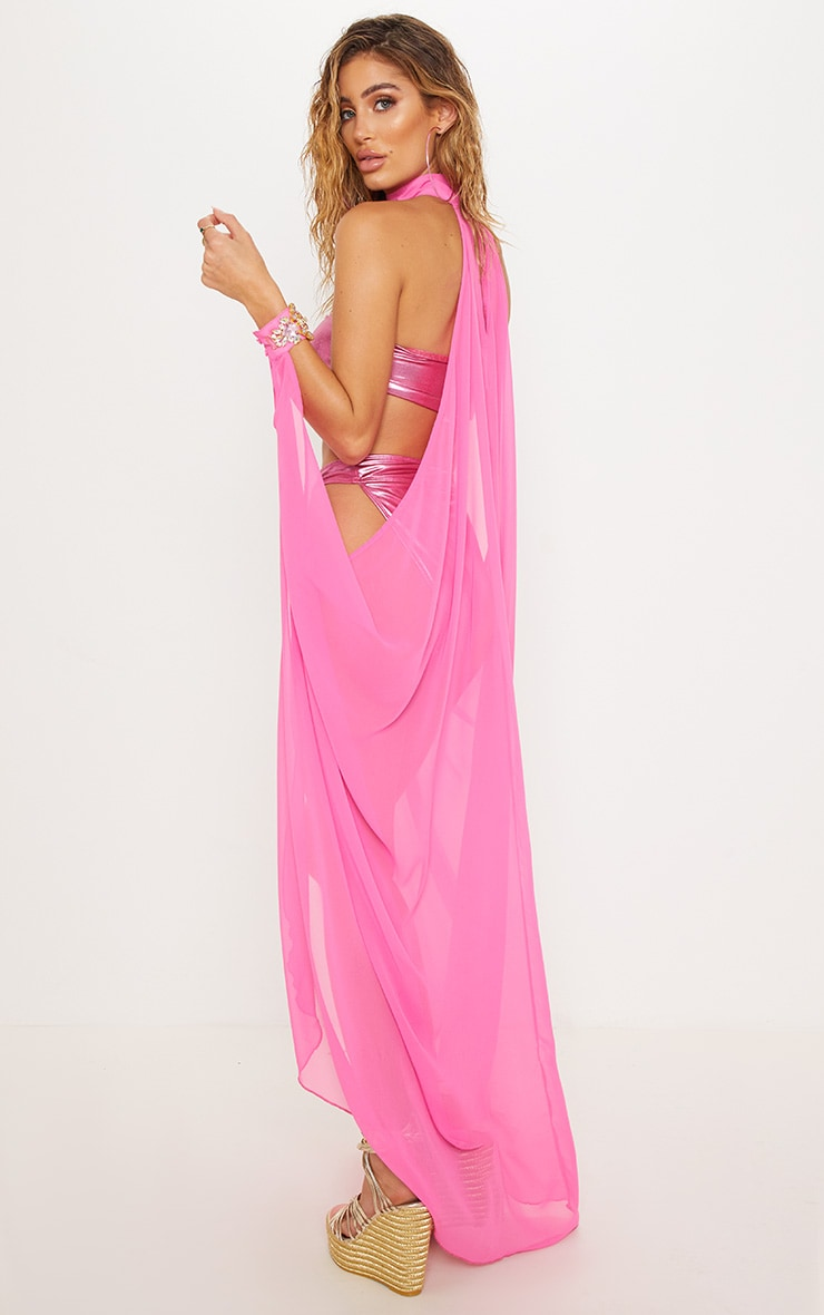 Pink Premium Jewel Collar & Cuff Poolside Cape 3