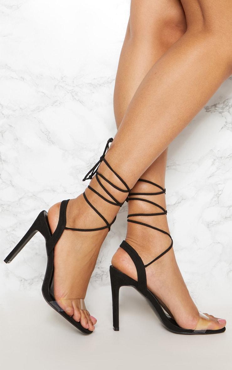 Black Perspex Square Toe Ghillie Sandal 1