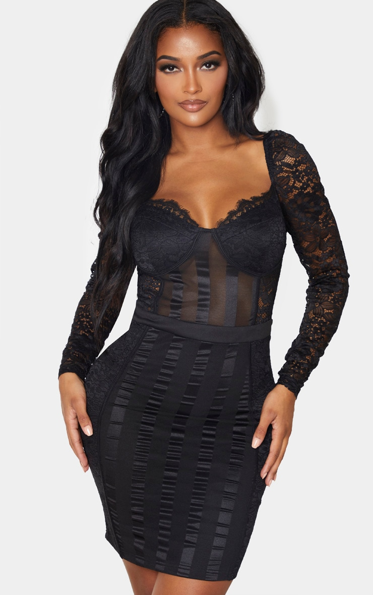 Shape Black Lace Mesh Stripe Long Sleeve Bodycon Dress 1